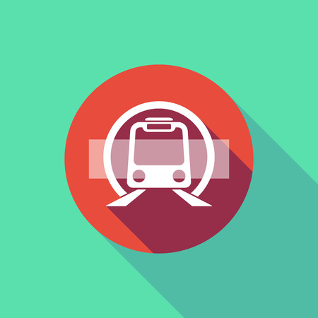 forbid: Illustration of a long shadow do not enter signal with  a subway train icon
