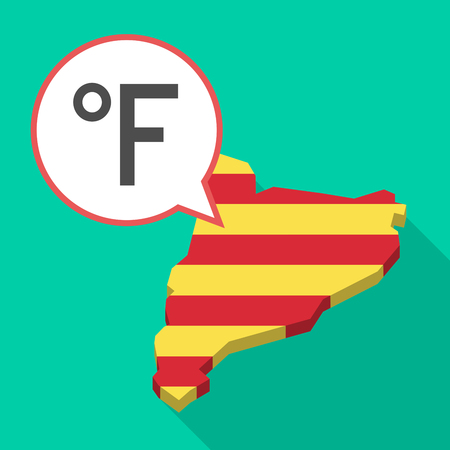 Illustration of a long shadow map of Catalonia with a comic balloon and  a farenheith degrees sign