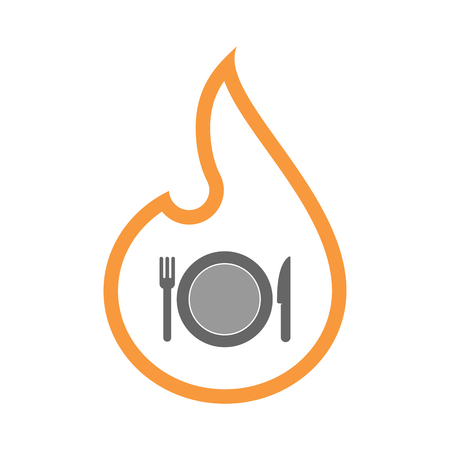 Illustration of a line art flame with  a dish, knife and a fork icon.