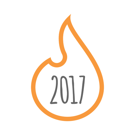 Illustration of a line art flame with  a 2017 year  number icon