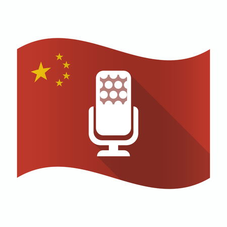 Illustration of a waving China flag with  a microphone sign