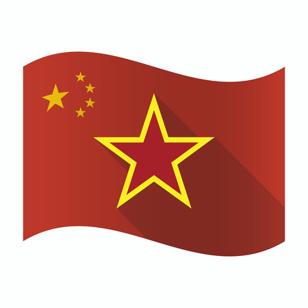 Illustration of a waving China flag with  the red star of communism icon