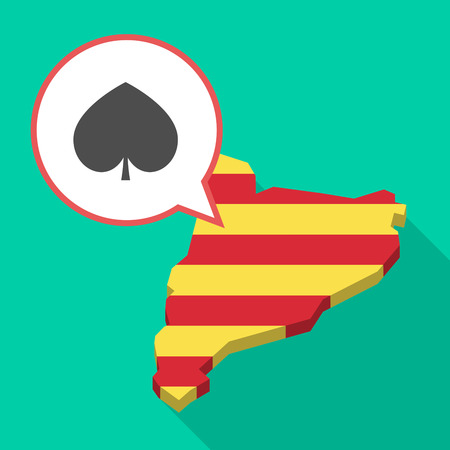 Illustration of a long shadow map of Catalonia with a comic balloon and  the  spade  poker playing card sign.