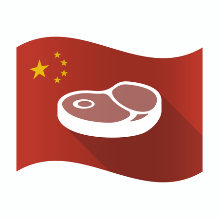Illustration of a waving China flag with  a steak icon