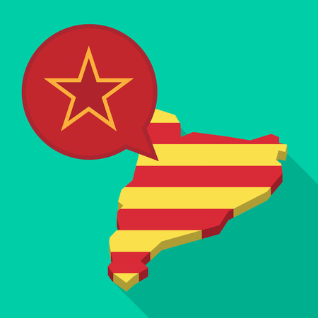 Illustration of a long shadow map of Catalonia with a comic balloon and  the red star of communism icon. Illustration