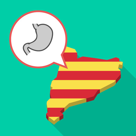 Illustration of a long shadow map of Catalonia with a comic balloon and  a healthy human stomach icon