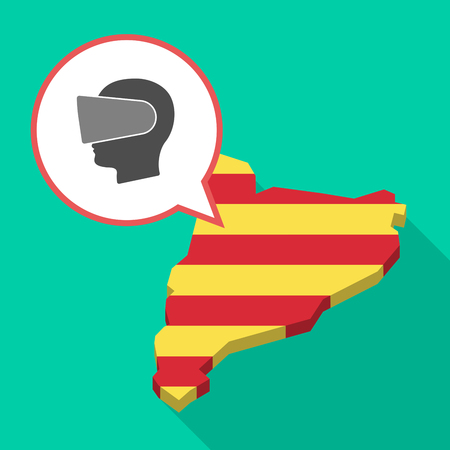 Illustration of a long shadow map of Catalonia with a comic balloon and  a male head wearing a virtual reality headset. Illustration