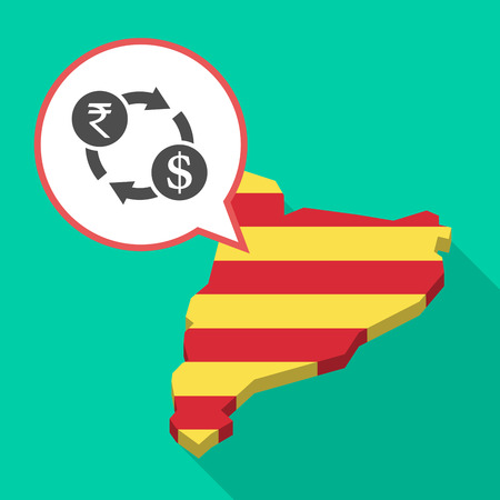 catalonia: Illustration of a long shadow map of Catalonia with a comic balloon and  a rupee and dollar exchange sign Illustration