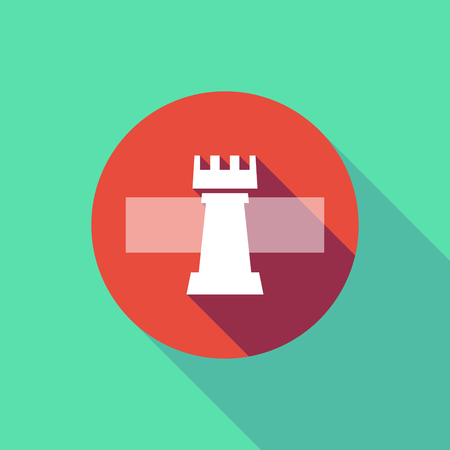 do not enter: Illustration of a long shadow do not enter signal with a  rook   chess figure