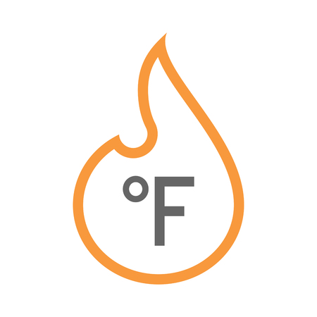 Illustration of a line art flame with  a farenheith degrees sign Illustration