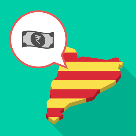 Illustration of a long shadow map of Catalonia with a comic balloon and  a rupee bank note icon.