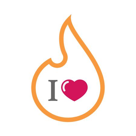 「好き」グリフを持つ線アート炎のイラストです。  イラスト・ベクター素材