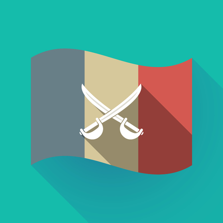 Illustration of a long shadow France flag with  two swords crossed.