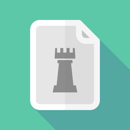 page long: Illustration of a long shadow document with a  rook   chess figure Illustration