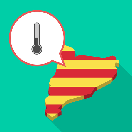 Illustration of a long shadow map of Catalonia with a comic balloon and  a thermometer icon.
