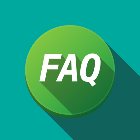 asked: Illustration of along shadow  round button with    the text FAQ