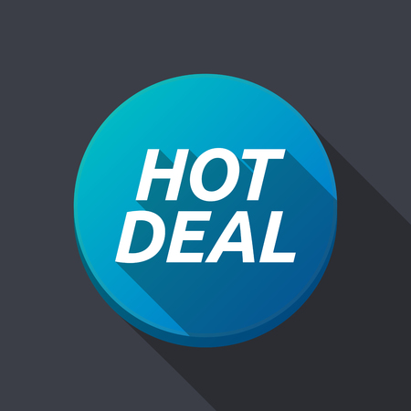 bargains: Illustration of along shadow  round button with    the text HOT DEAL
