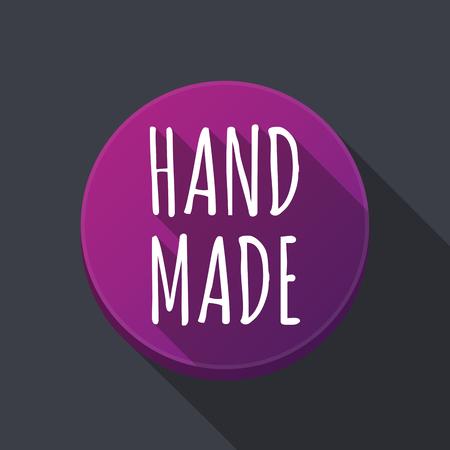 Illustratie van langs schaduw ronde knop met de tekst HAND MADE