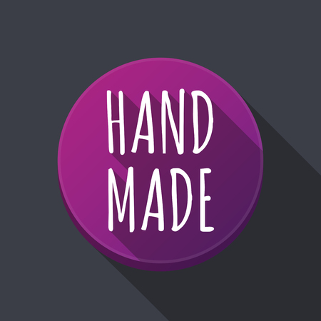 do it yourself: Illustration of along shadow  round button with    the text HAND MADE