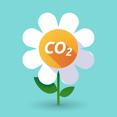 Illustration of along shadow daisy flower with    the text CO2