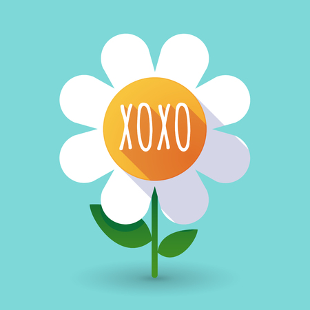 Illustration of along shadow daisy flower with    the text XOXO