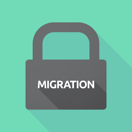 Illustration of a long shadow lock pad with  the text MIGRATION