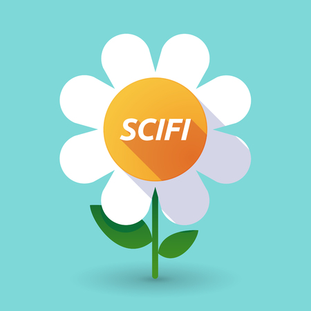 speculative: Illustration of along shadow daisy flower with    the text SCIFI Illustration
