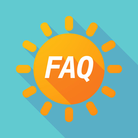 Illustration of along shadow Sun with    the text FAQ Illustration