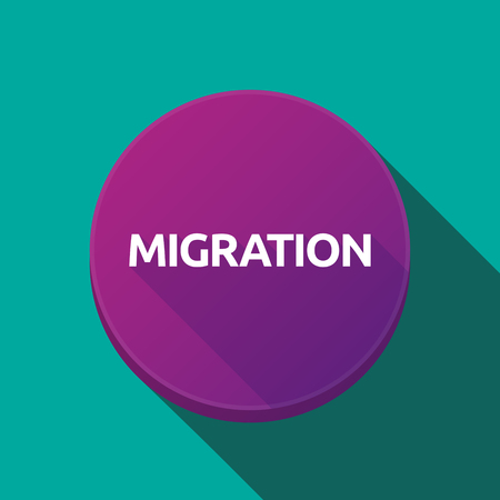 Illustration of a long shadow round web button with  the text MIGRATION Illustration