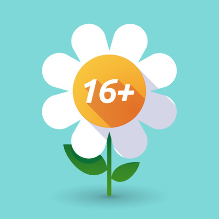 Illustration of along shadow daisy flower with    the text 16+