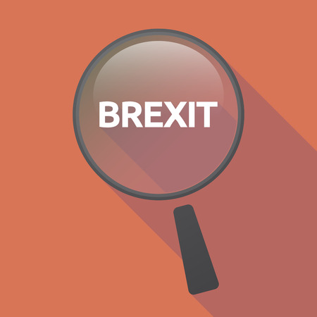 Illustration of a long shadow glass magnifier with  the text BREXIT