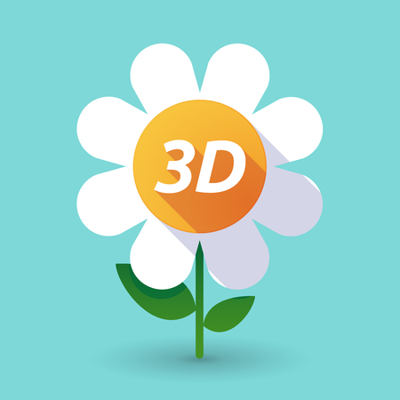 Illustration of along shadow daisy flower with    the text 3D Illustration
