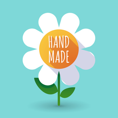 do it: Illustration of along shadow daisy flower with    the text HAND MADE