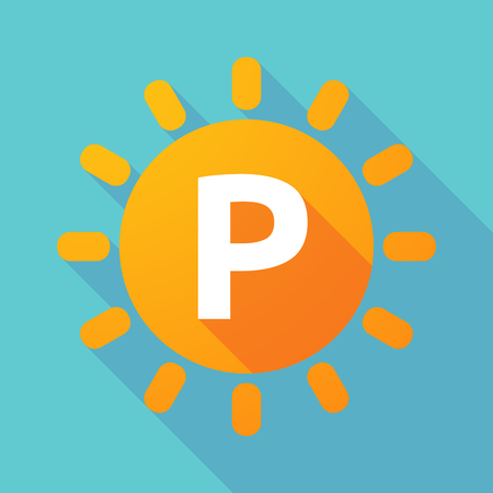 Illustration of along shadow Sun with    the letter P