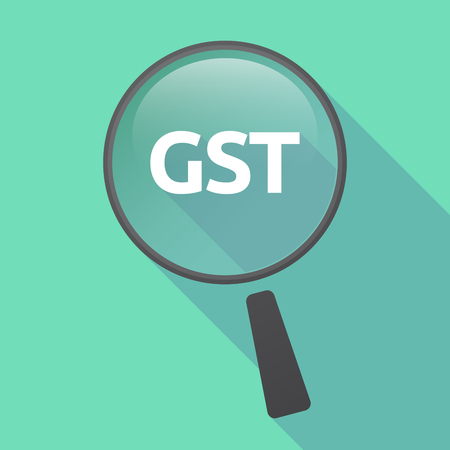 Illustration of a long shadow glass magnifier with  the Goods and Service Tax acronym GST