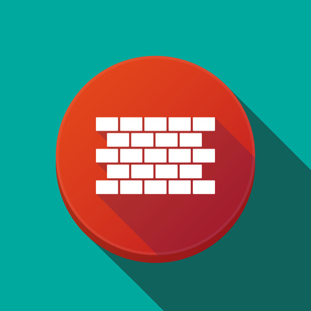 Illustration of a long shadow round web button with  a brick wall
