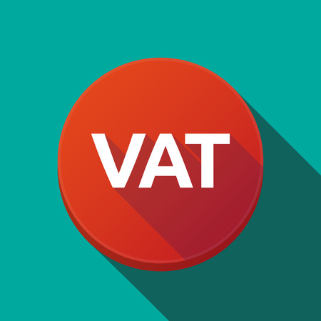 Illustration of a long shadow round web button with the value added tax acronym VAT