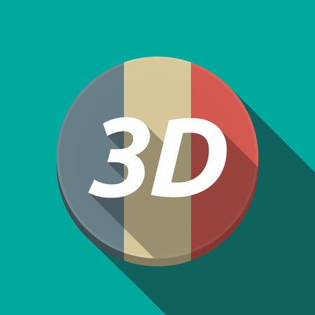 dimensions: Illustration of along shadow  round France flag button with    the text 3D Illustration