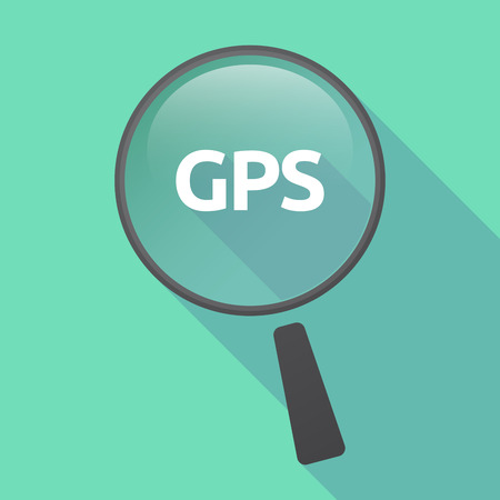 global positioning: Illustration of a long shadow glass magnifier with  the Global Positioning System acronym GPS