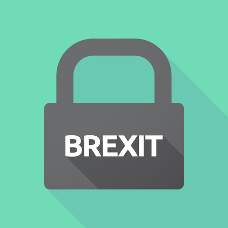 Illustration of a long shadow lock pad with  the text BREXIT