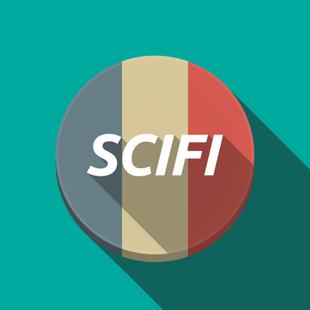 Illustration of along shadow round France flag button with the text SCIFI