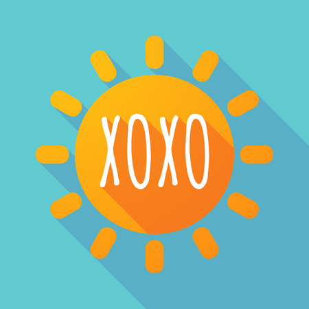 Illustration of along shadow Sun with    the text XOXO