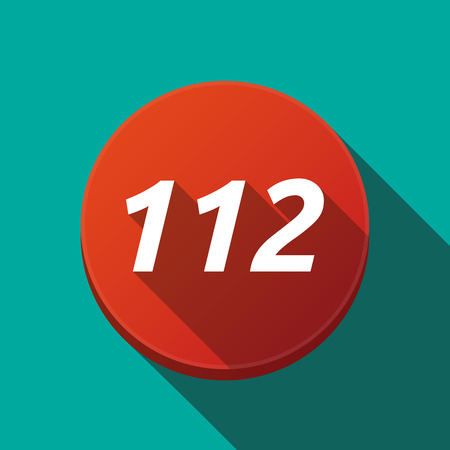 Illustration of along shadow  round button with    the text 112