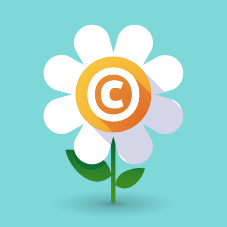 Illustration of along shadow daisy flower with    the  copyright sign Illustration