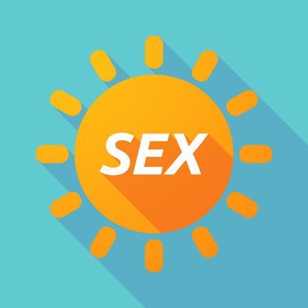 Illustration of along shadow Sun with    the text SEX