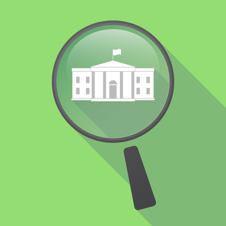 Illustration of a long shadow glass magnifier with  the White House building