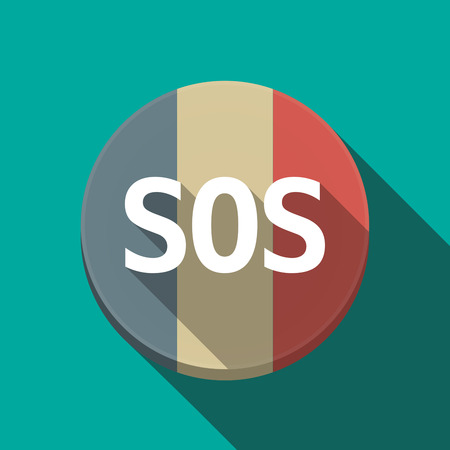 Illustration of along shadow  round France flag button with    the text SOS