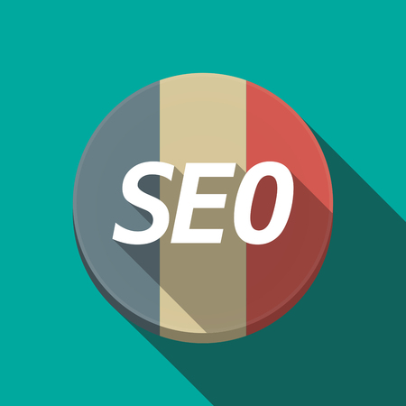 Illustration of along shadow  round France flag button with    the text SEO Illustration