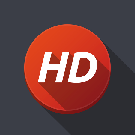 Illustration of along shadow  round button with    the text HD