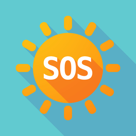sun s: Illustration of along shadow Sun with    the text SOS Illustration